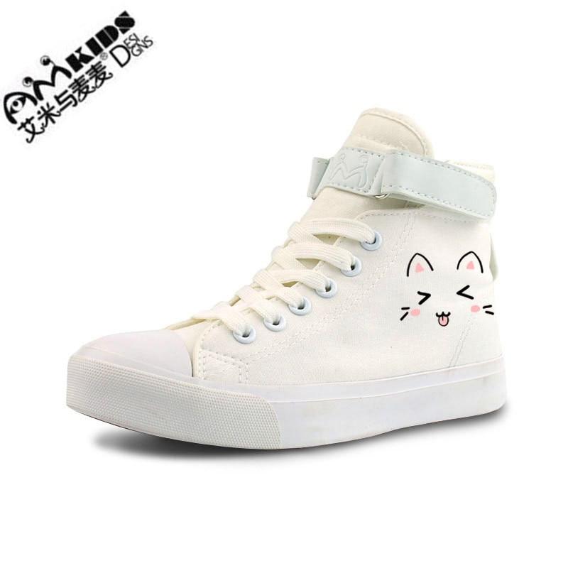 AMYMM dibujos animados para niños pintados a mano lindos emoticonos gato calzado de lona con grafiti chicas Zapatos altos planos zapatos para ayudar a los estudiantes YXX