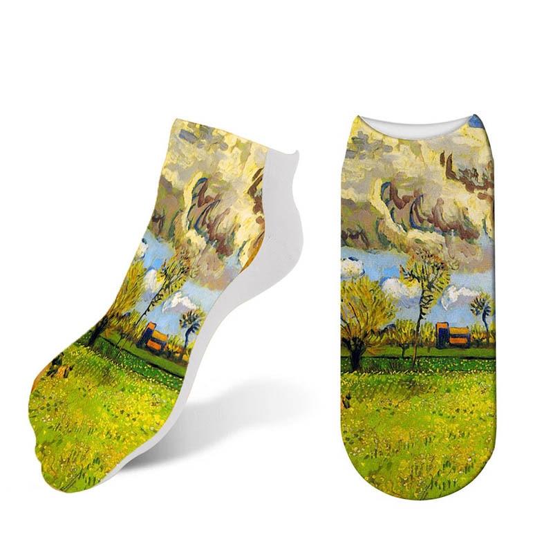 2019 New Women Printing Socks Ankle Low cotton Retro Art Happy Funny Socks Renaissance Oil Painting Van Gogh Sunflower 7S-ZWS52