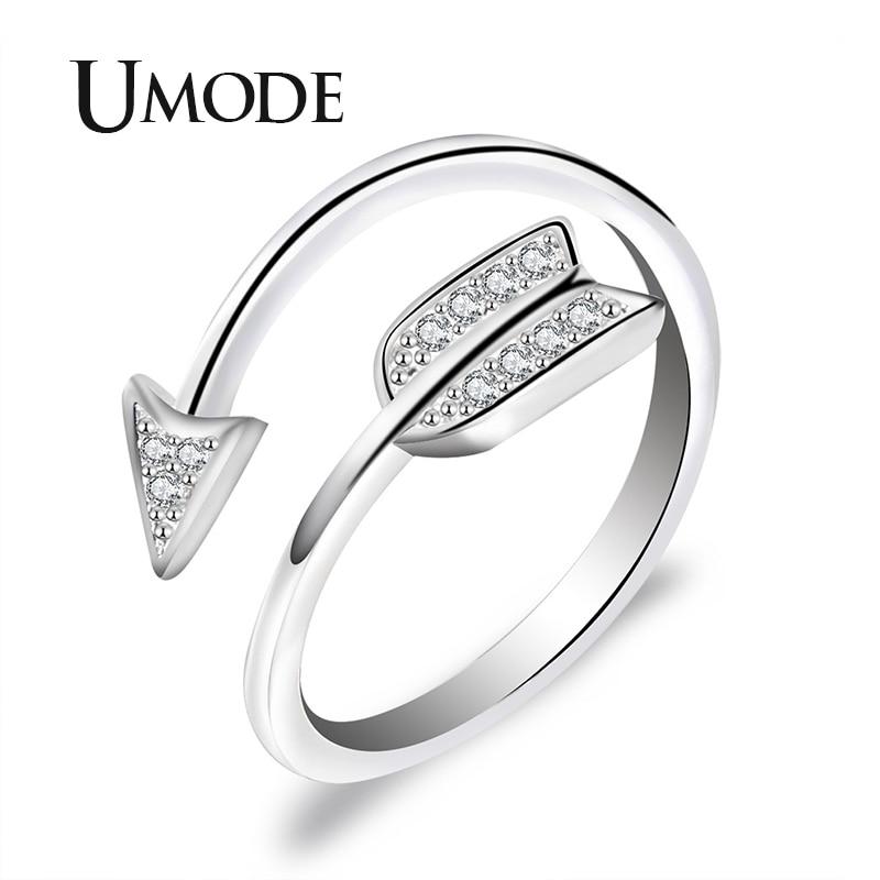 خاتم جديد من UMODE بأحجار مكسو بأحجار الزركون والكريستال الأبيض بتصميم دائري شفاف للسيدات خاتم قابل للتعديل من الذهب الأبيض طراز AUR0497