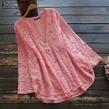 ZANZEA-cárdigan tipo Kimono para Mujer, de encaje, Sexy blusa Harauku Estilo Vintage con botones, estilo túnica, 2020