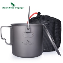 Voyage sans bornes titane suspendus 1100ml Pot avec couvercle poignée pliable en plein air randonnée Camping Portable tasse tasse bouteille deau
