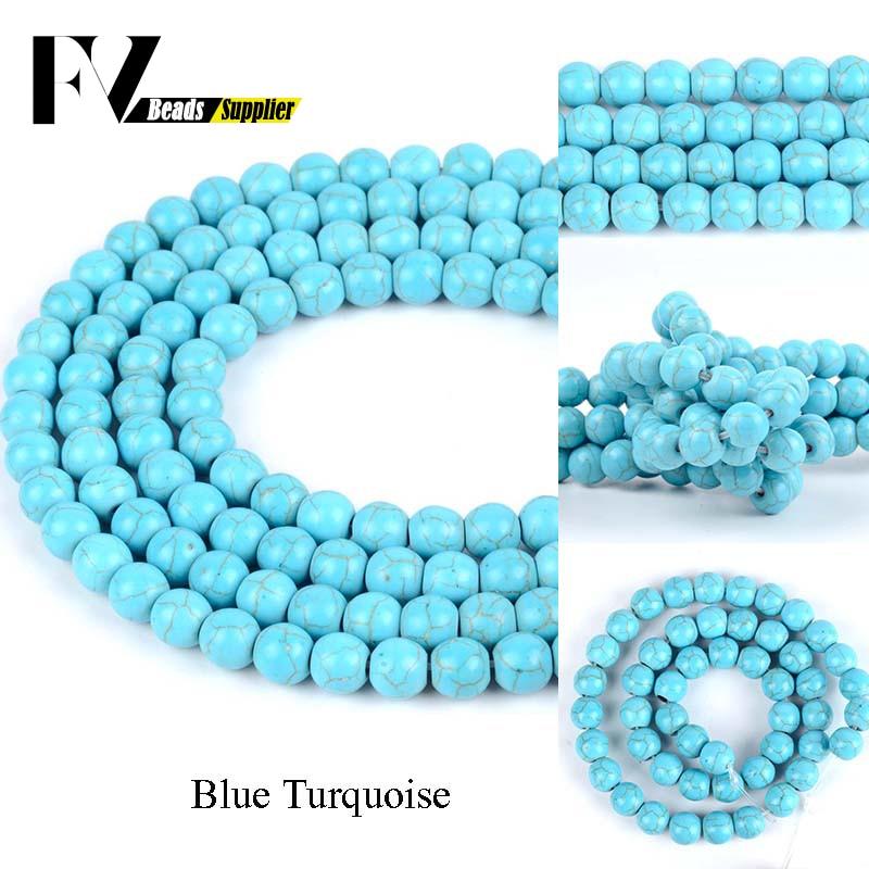 Turquesas azules de piedra redonda Natural, cuentas sueltas para fabricación de joyas,...