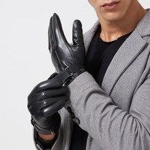 Gant masculin en cuir épais noir touché   Pour hiver 2020, gant décran épais noir touché, Luvas Gym, mitres de conduite de voiture, handschoenen rekawiczki