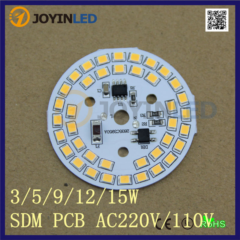 20pcs/lot 220V High Voltage Linear Constant Current Driverless AC-LED light source Dimmable PCB led module 9W