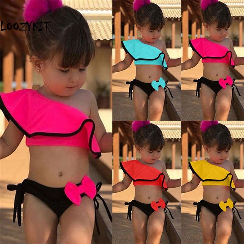 Loozykit 2pcs Kids Baby Girls Off-shoulder Bow Bikini Set Swimwear Swimsuit Bathing Suit Beach Swimming Costume Clothing 2-8Y
