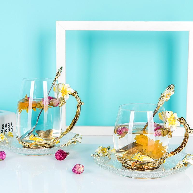 1 Pcs Glass Mug Resistant Kungfu Tea Mug Milk Lemon Juice Cup Drinkware With Gift Box Lover Coffee Cups Mug Gift Ornaments