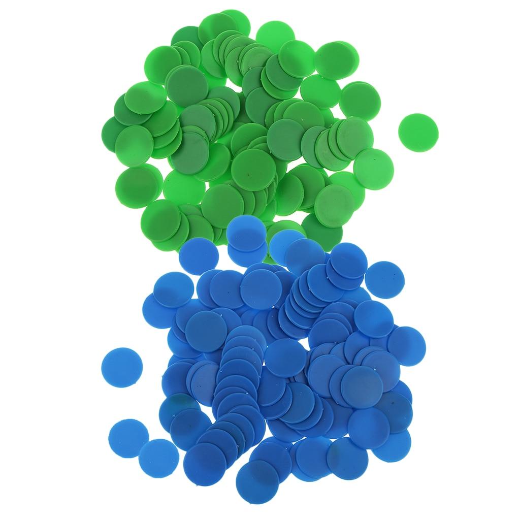200 Uds opaco juego de mesa de plástico contadores Chips aritmética enseñanza azul verde para Casino tablero fichas de juego chico aprender número