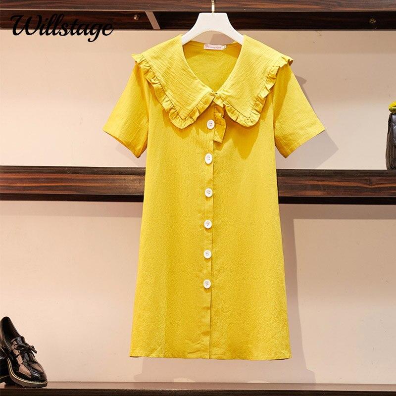 Willstage vestido Oversize 4XL amarillo Peter pan Collar lindo apertura por botón stitch de talla grande vestidos Casual recto mangas cortas