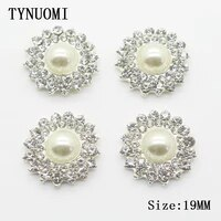 hot 10pcs lot19mm rhinestone button metal pearl decoration accessories diy wedding decoration embellished buckle