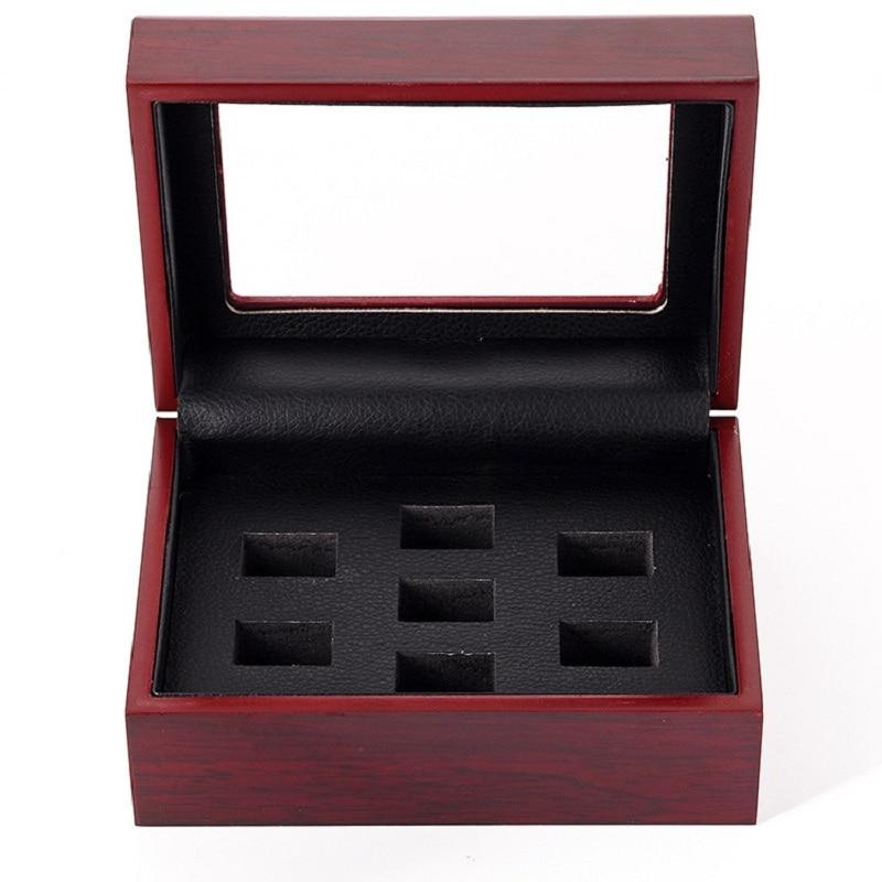 7 loch Holz Champion Ring Box Baseball Fußball und Basketball Mann Championship Ring Display Box