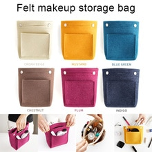2020 New Women Portable Makeup Bag Felt Fabric Insert Handbag Cosmetics Organizer Trousse Maquillage Femme Neceser Maquillaje