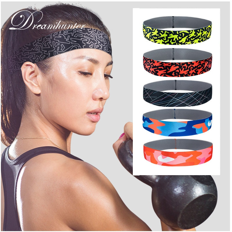 Fitness banda elástica deportiva hombres mujeres cinta de cabeza para el sudor Running fútbol baloncesto bandas para el cabello para yoga silicona antideslizante banda elástica