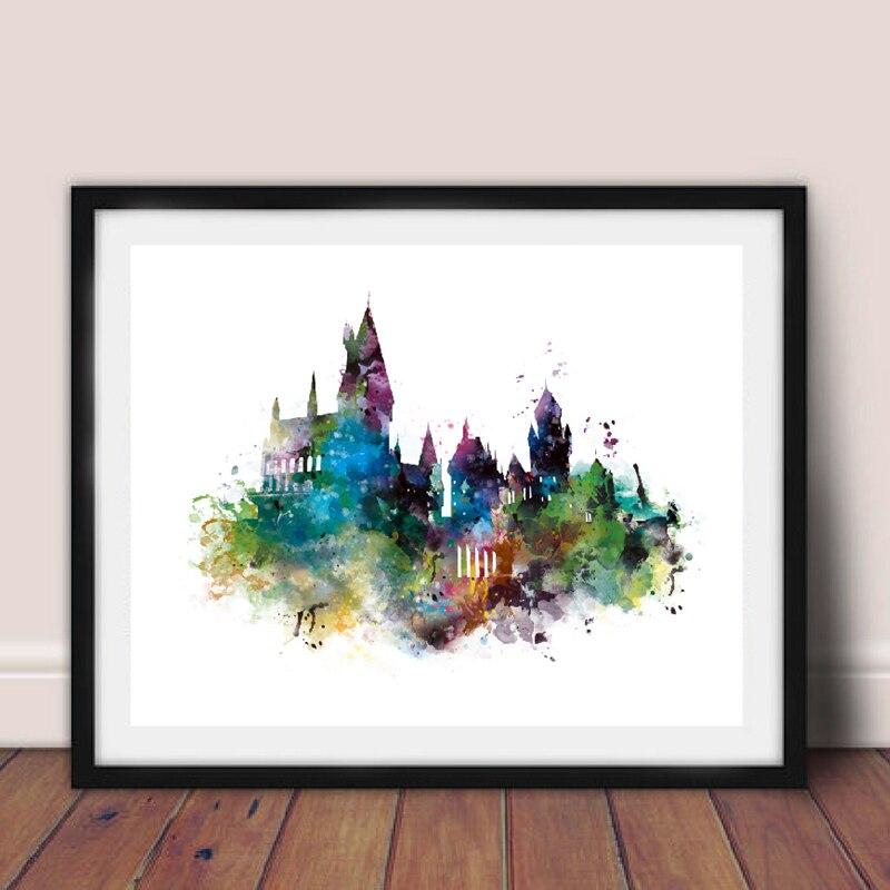 Tela de aquarela de castelo arte pintura de parede, harry canvas, impressões, aquarela, castelo, arte, decoração de quarto de crianças