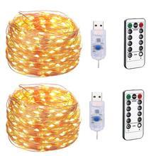 USB LED chaîne lumière télécommande 5 M/10 M 50/100LED fée chaîne lumière 20M fil de cuivre pour mariage noël vacances décor lampe
