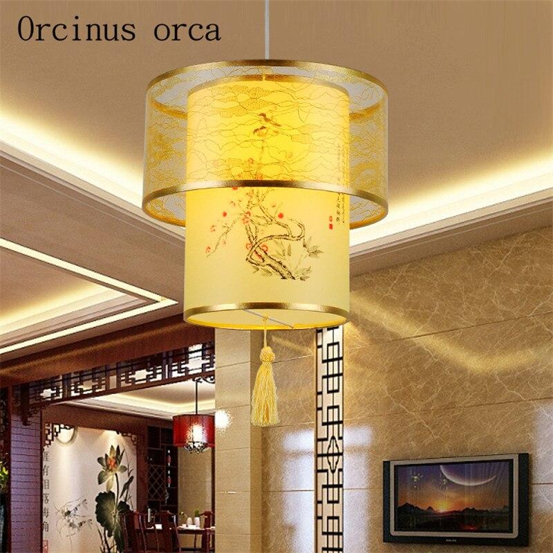 Chino clásico de piel de oveja pequeño colgante antiguo decorativo linterna restaurante pasillo luces de té