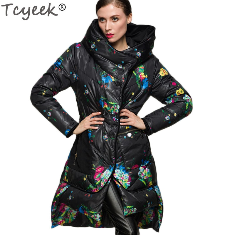 Tcyeek-سترة شتوية نسائية طويلة سميكة من ريش البط الأبيض ، معطف خارجي مقاوم للرياح ، 2020 Abrigos Mujer ، HJ300