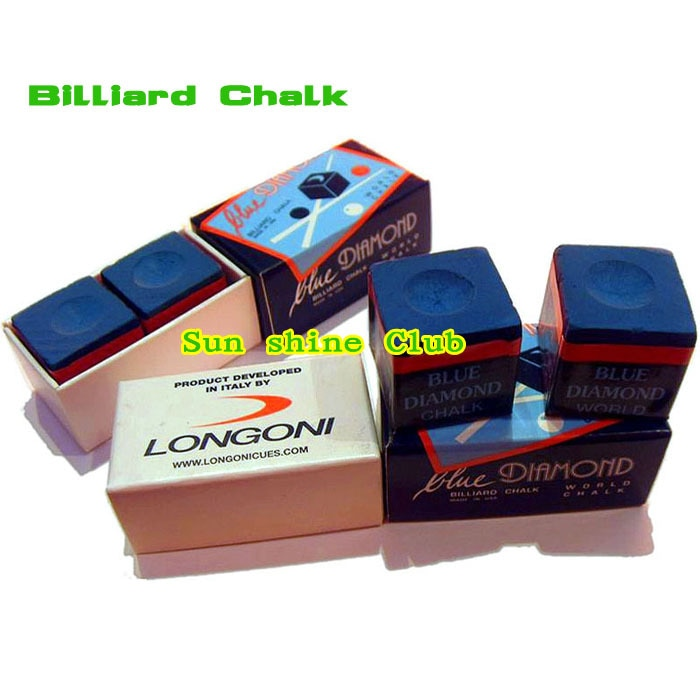Envío gratis 2 unids/lote azul diamante billar tizas para billar/accesorios de billar/piezas de repuesto tiza de billar
