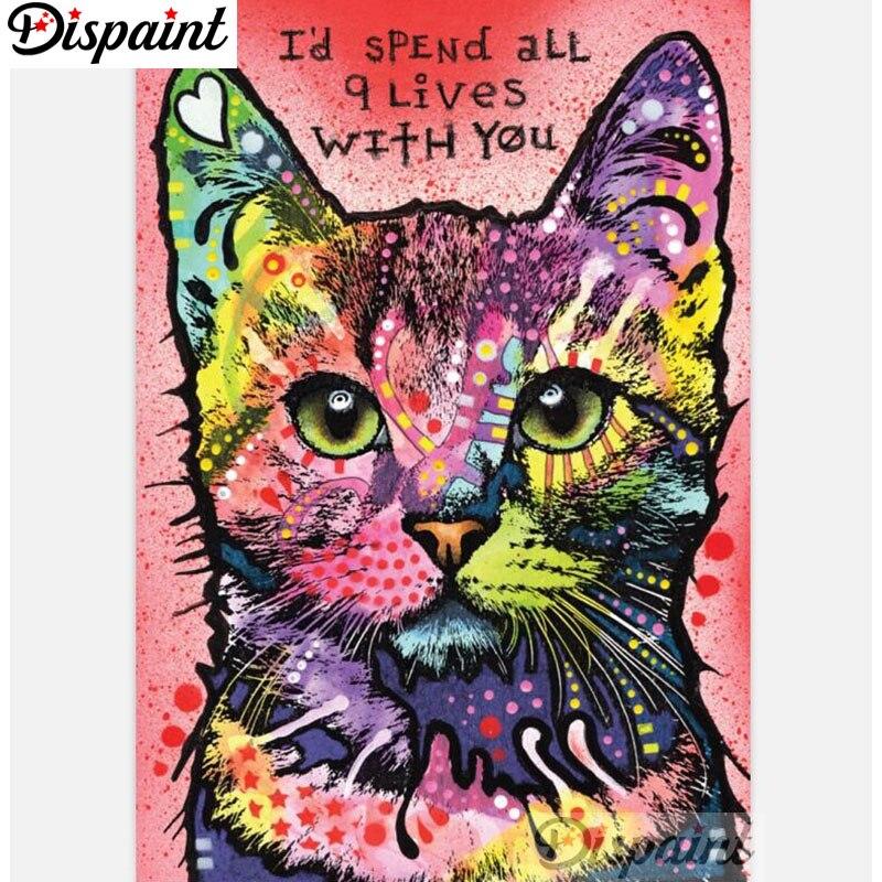 """Dispaint taladro cuadrado/redondo 5D DIY pintura de diamante """"gato de color"""" bordado punto de cruz 3D decoración del hogar A12042"""