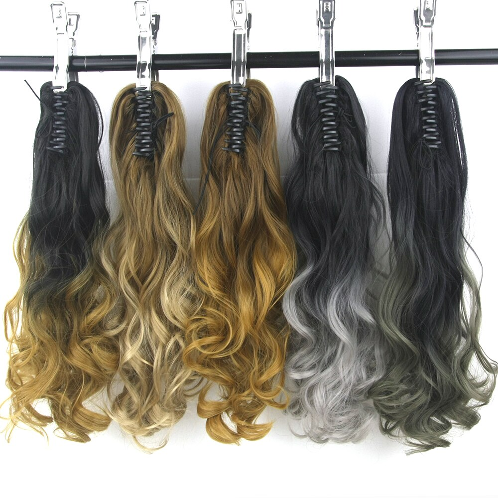 Cola de Caballo Soowee, negro a gris, Rubio, Coleta, pelo sintético, Clip de fibra de alta temperatura para extensión de cabello, peluca, cola de poni
