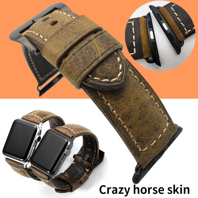Correa para Apple Watch de 38mm y 42mm, reloj de pulsera para Piel De Becerro, Crazy Horse de 38mm y 42mm, correa de reloj para hombre p-anerai de 24mm Gear S3 22mm