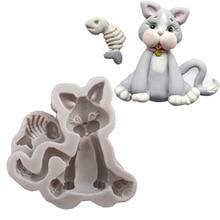 Kitten animal modeling liquid silicone cake mold DIY clay potting clay Model K141
