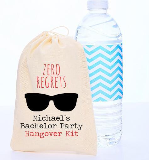 Bolsas de regalo personalizadas Zero regords para recuerdo de boda, Kit de supervivencia para resaca de despedida de soltera, bolsas de caramelos para fiesta de despedida de soltera