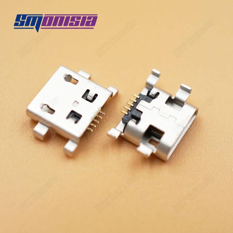 Smonisia 1000 piezas conector de enchufe Micro USB tipo B fregadero hembra 1,0 DIP 5 Pin 4 pies