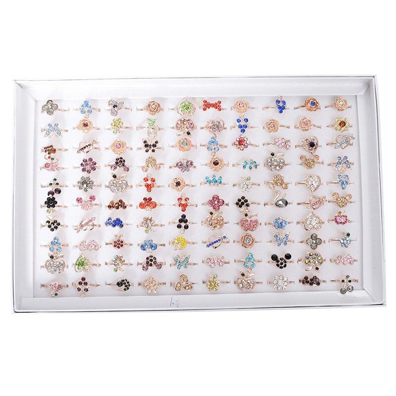 Pinksee anéis de cristal mistos, 10 pçs/lote, atacado, a granel, mulheres, meninas, anel, joias, presentes 19mm ajustável