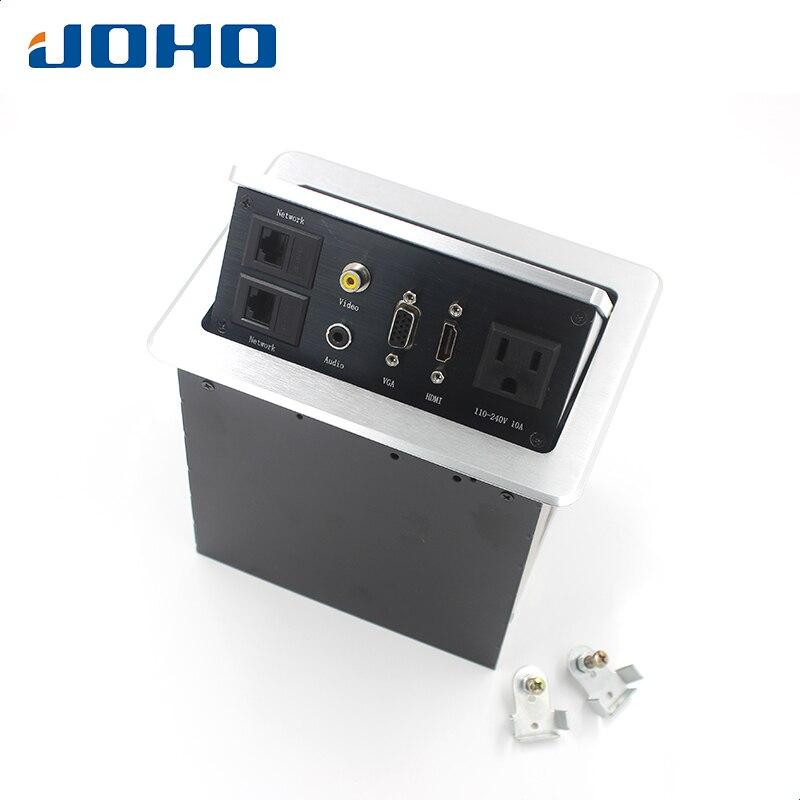 مقبس مكتب-JOHO-, مقبس مكتب موديل 15A ، مقبس أمريكي ، 2 داتا ، VGA ، HDMI ، صوت-L و Audio-R ، مقبس طاقة سطح المكتب
