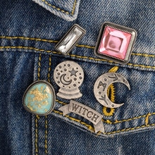 6 pièces/ensemble carte boule de cristal lune sorcière rose blanc strass broche Denim veste chemise col épinglettes boucle Badge bijoux cadeau