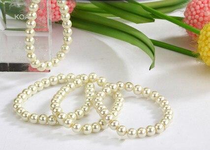 Lote de 100 Uds de pulseras de joyería al por mayor, lotes de pulseras de perla de imitación artificiales blancas y beige, envío gratis BL380