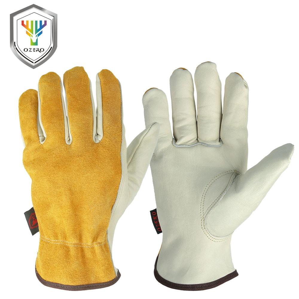OZERO Work Gloves Cowhide Leather Men Working Welding Gloves Safety Protective Garden Sports MOTO Wear-resisting Gloves 1008