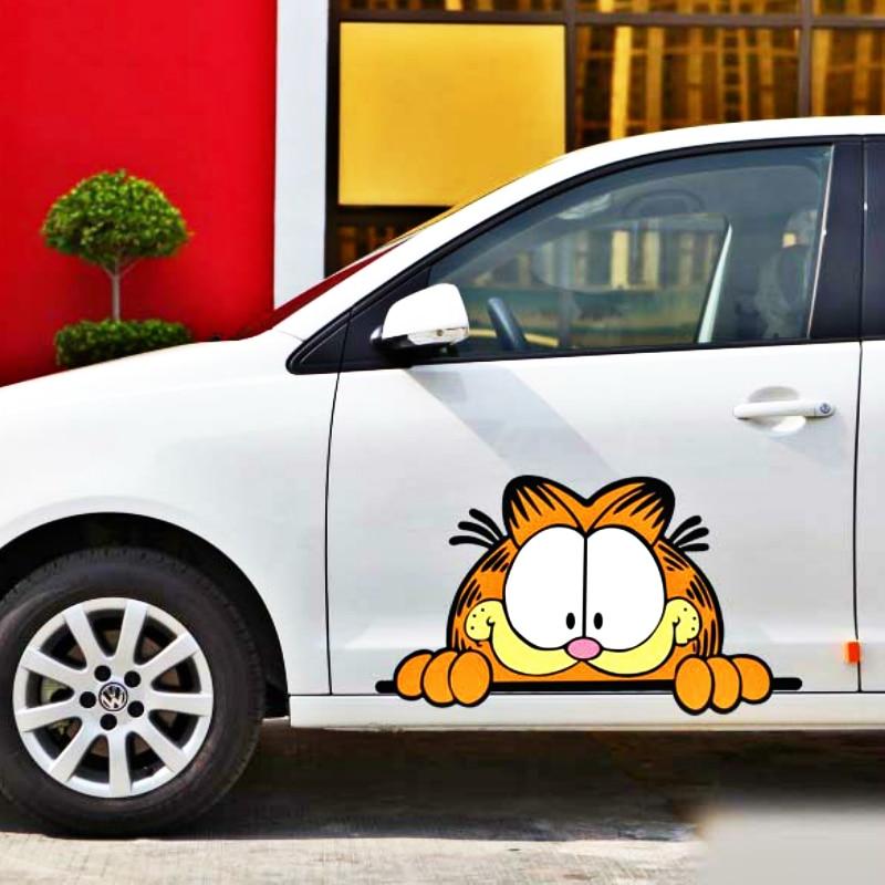 Pegatina de coche con dibujos animados divertidos de Garfield Peeking para Ford Mondeo MK4 Focus 2 3 c-max s-max Ranger Kuga Transit Volkswagen