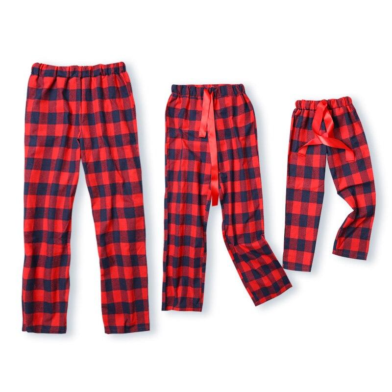 Pantalones de pijama de invierno de tela escocesa de algodón para padres e hijos