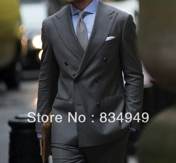 Trajes de hombre gris medio hechos a medida; solapa de pico ancho; doble pecho (chaqueta + Pantalones + corbata + cuadrado de bolsillo