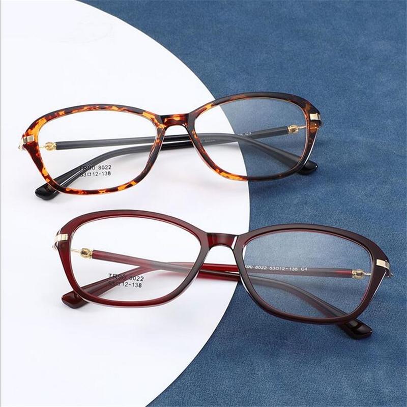 Gafas ópticas TR90 ultraligeras para mujer, gafas graduadas cuadradas con flexibilidad Retro, gafas falsas con espejo transparente ovalado para mujer