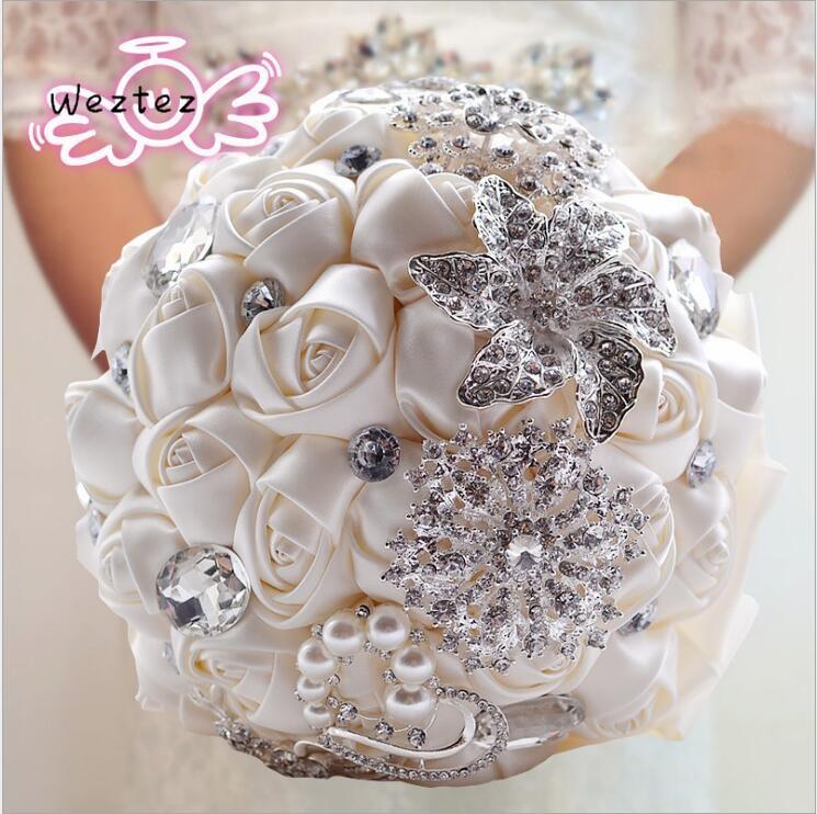 Ramos de novia hermosas flores de boda Artificial ramo de cristal con perlas D336
