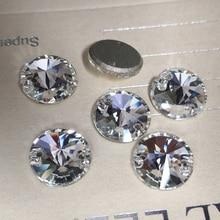 Strass vêtement en verre cristal 3200 Rivoli   2 trous, dos plat, verre cousu sur les pierres, Strass de cristal pour vêtements artisanat