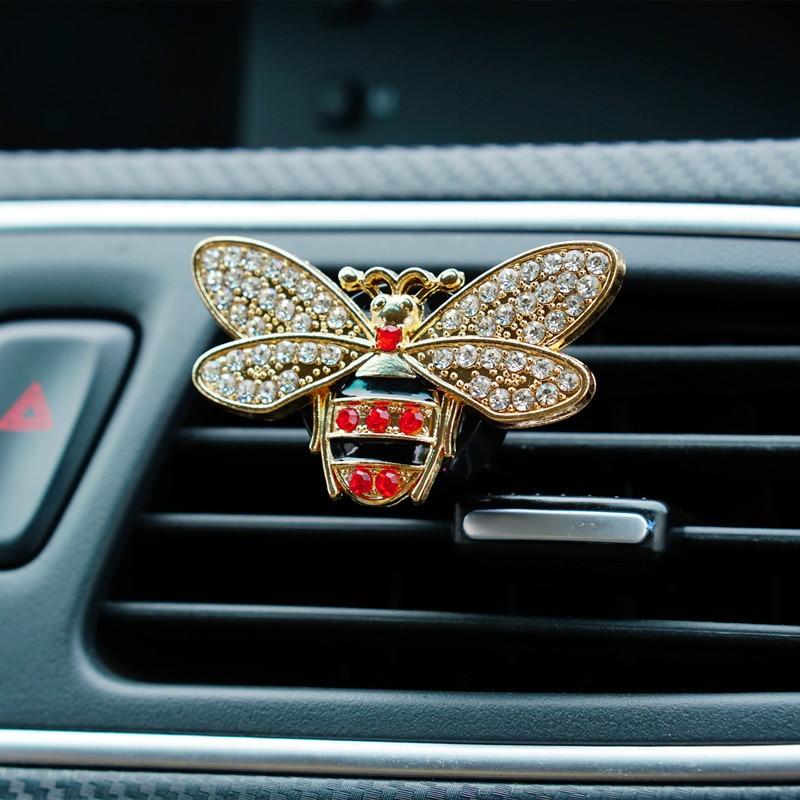 Estilo de coche Bling Little Bee, ambientador de coche de cristal, Perfume de coche 100 Original, perfume aromatizante para mujeres, adorno de decoración del coche