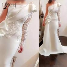Élégant une épaule sirène longues robes de bal 2018 blanc manches longues robes de bal Satin ruché volants Applique balayage Train