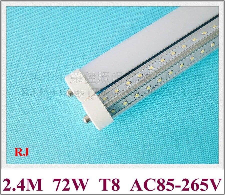 Lámpara de tubos de luz LED FA8 simple pin doble fila forma de V T8 2400mm 2,4 M SMD 2835 384led (4 * 96led) 72W AC85-265V súper brillante CE