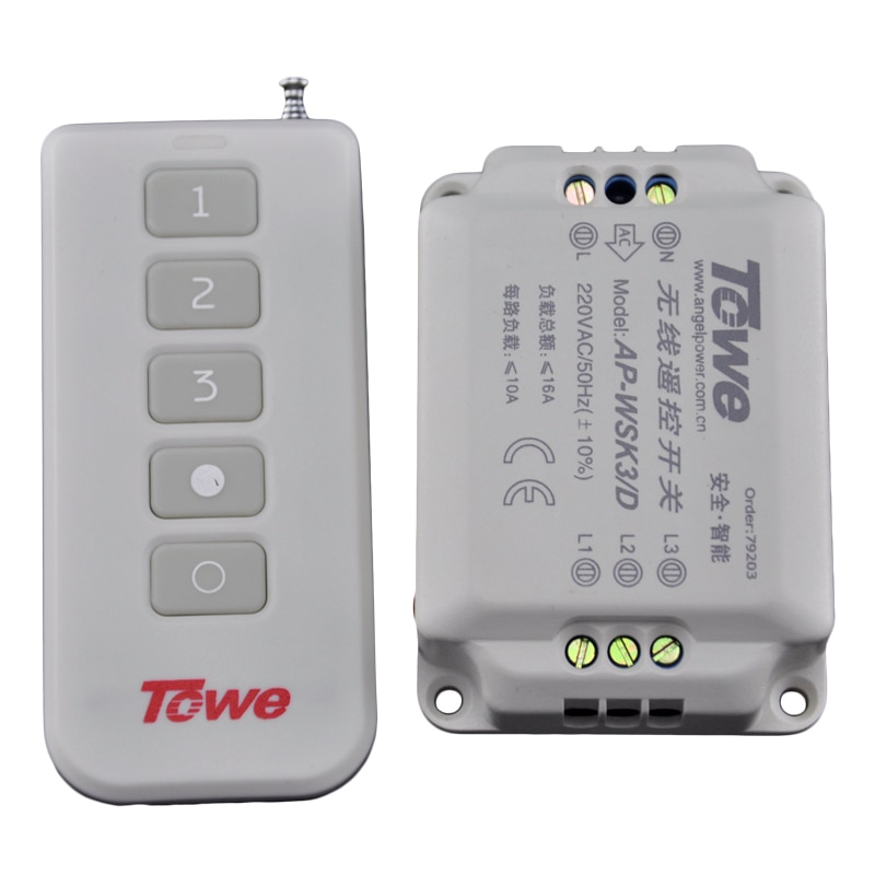 TOWE AP-WSK3-D ceiling lamp wireless  segment switch 220V three way autocephaly remote control switch towe tw iedj d 220v 3500w industrial timer three phase power countdown timer switch rail microcomputer control switch