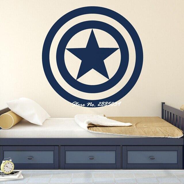 Adhesivo de pared de escudo de superhéroes, vinilo extraíble para habitación de niños, papel de la etiqueta Craft Marvel, Vinilos, Paredes LA293