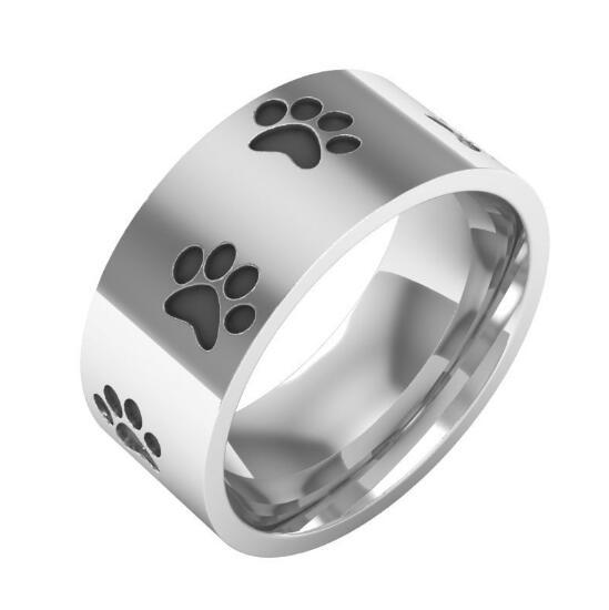 8 MM de alta calidad pezuña de gato y perro anillos para Dedo de hombre 316 L acero inoxidable Punk joyería Anime anillos de animales joyas de amuleto regalo de boda