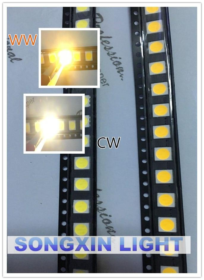 100 stücke 5050 Weiß/warmweiß SMD/SMT LED PLCC-6 3-CHIPS 5050 smd led 60MA Mid-power 10-18LM 0,2 W
