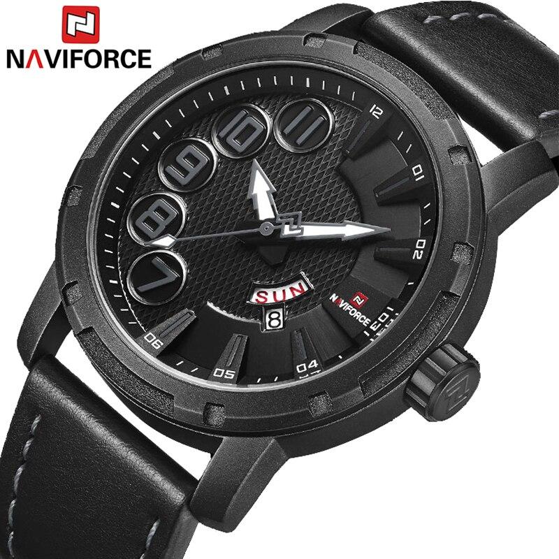 NAVIFORCE Watches Men Fashoin Casual Simple Sport Quartz Leather Wristwatches 3Bar Waterproof Clock Hour Relogio Masculino