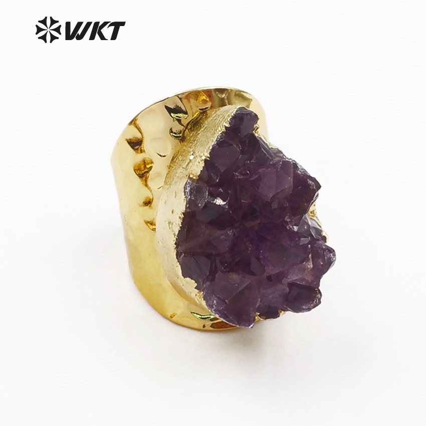WT-R102 WKT Exclusive! wholesale 10pcs/lot purple stone women rings adjustable bright color big size ring classic style jewelry