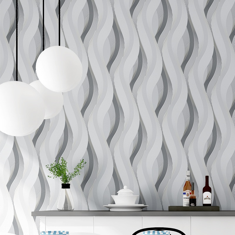 Modern 3D Curved Wallpapers Grey 3D Wallpaper Striped Living Room Background Vinyl PVC Wall Paper Roll papel de parede listrado