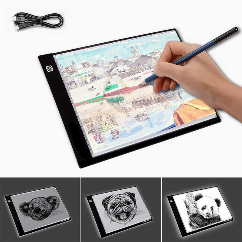 Nuevo diseño A4 LED dibujo copia tablero LED de caja de luz para tatuaje dibujo tableta niños luz de placa de luz led con cable USB