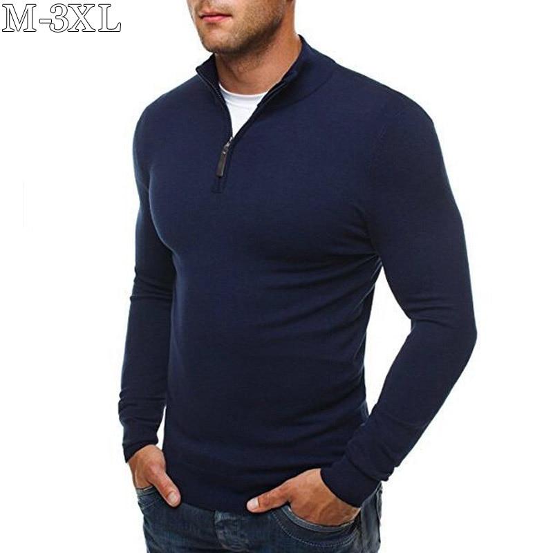 Jerseys para hombre 2019 Nuevo Jersey de punto de cuello alto de algodón Casual para hombres Jersey de punto sólido de manga larga ajustado para hombres tamaño M-3XL
